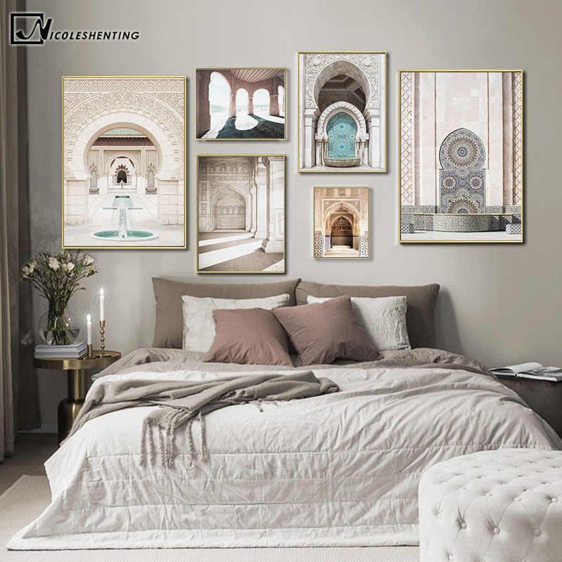 Hassan Ii Moskee Canvas Schilderij Marokko Architectuur Poster Reizen Landschap Print Islamitische Wall Art Picture Home Decoration