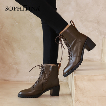 SOPHITINA Casual Ankle Boots Comfortable Square heel Zipper Round Toe Lace-Up Women Boots Fashion Non-slip Women's Shoes SO657 sophitina fashion round toe ladies boots casual metal decoration med heel shoes winter basic solid square heel women boots so203