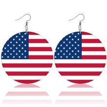País impresso bandeiras nacionais brincos de madeira áfrica américa bandeiras pendurado balançar brincos gota earing moderno feminino jóias