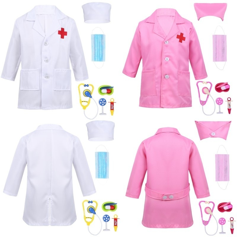 100-160cm Teenager Toddler Boys Doctor Cosplay Costumes For Halloween Carnival Party Lab Hospital Kids Girls Nurse Uniform Gift