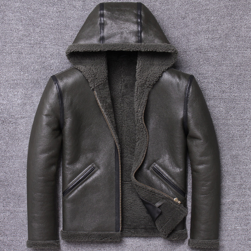Men's Genuine Leather Jacket Hooded Vintage Short Winter Real Fur Coat Men Sheepskin Leather Jackets Shearling Wool M1901 KJ3199