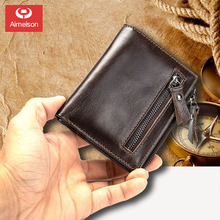 Genuine leather  vintage wallet men with coin pocket short wallets small zipper walet with card holders man purseASBD013