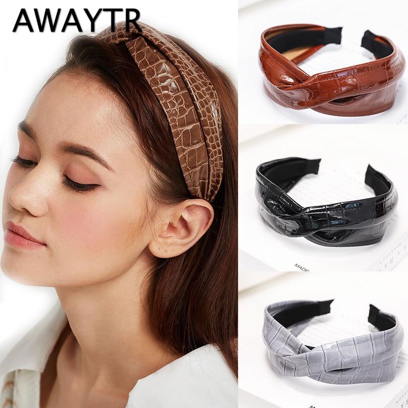 AWAYTR Korean Cross Knot Leather Headband For Women PU Hairband Fashion Jewelry Solid Color Bezel Hoop Female Hair Accessories