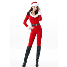купить Christmas New Year Cosplay Costume Suit For Women Adult Santa Claus Red Jumpsuit Set Girl Slim Fancy Performance Clothes недорого