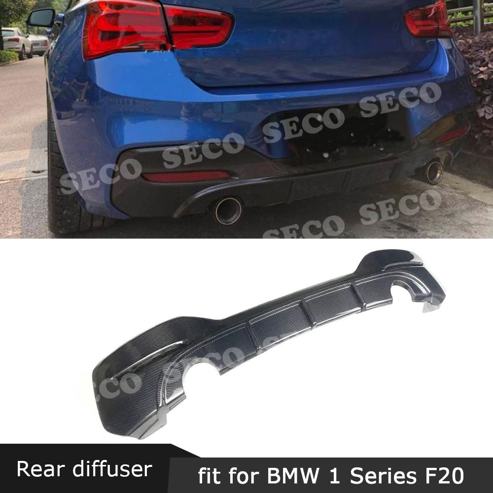 For BMW 1 Series F20 M135i M Sport 2016 -2018 Rear Bumper Lip Diffuser Carbon Fiber / FRP Fins Shark Style Rear Hugger Cover image