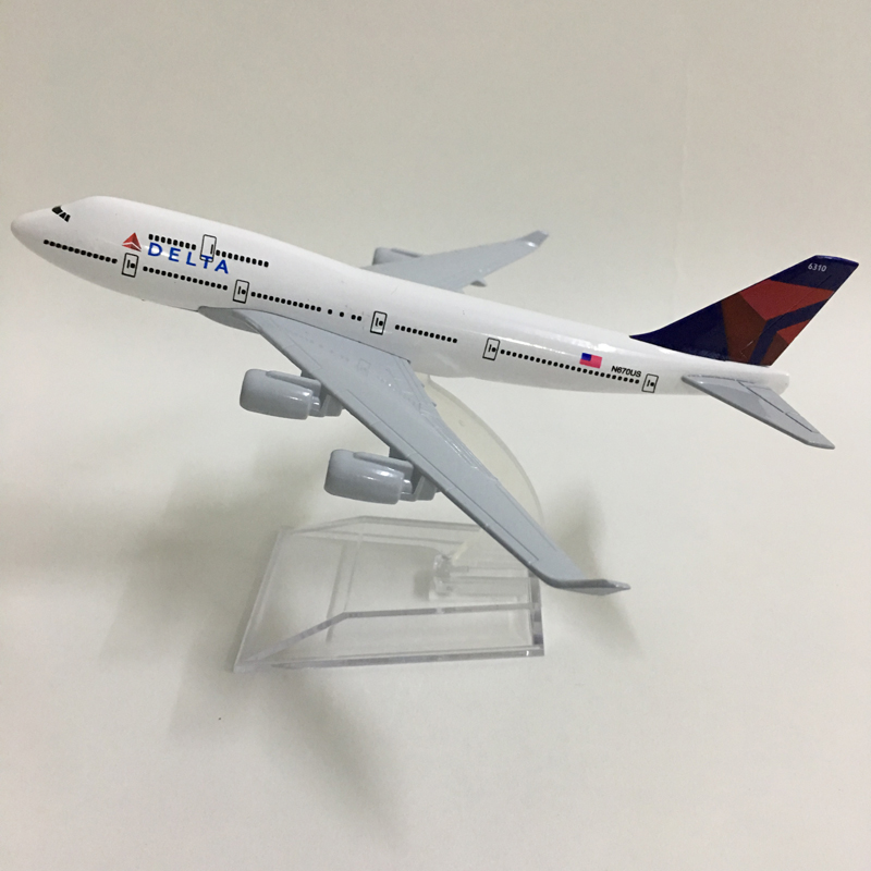 JASON TUTU 16cm Plane Model Airplane Model Delta Air Lines Boeing 747 Aircraft Model 1:400 Diecast Metal Airplanes Plane Toys