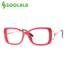 Квадратные очки для чтения SOOLALA для женщин и мужчин, модная оправа для очков с увеличительным козырьком + от 0,5 до 4,0