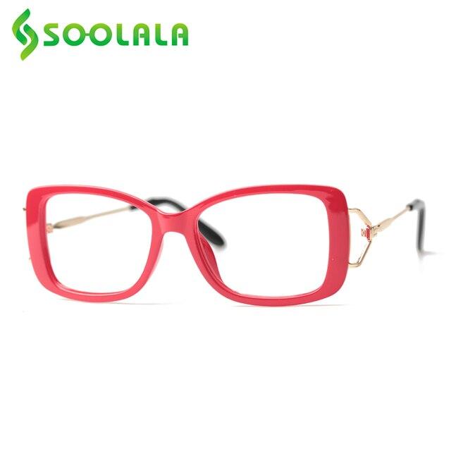 SOOLALA مربع نظارات للقراءة إمرأة رجل كبير إطار نظارات الموضة إطار مكبرة قصر النظر الشيخوخي نظارات + 0.5 إلى 4.0