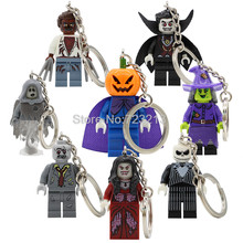 Halloween Figure Keychain Key Ring Skeleton Werewolf Zombie Ghosts Pumpkin Man Vampire Count Queen Building Blocks Toy Legoing(China)