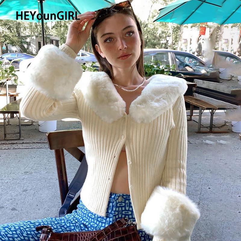HEYounGIRL Autumn Thin Furry Knitted Cardigan Sweater Women Vintage Elegant Chic Jumper Ladies Fashion Patchwork Knitwear Winter