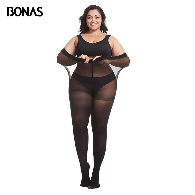 Bonas春 80Dタイツプラスサイズxxxlベルベットのストッキング弾性にくい女性のセクシーな上のエキストラサイズストッキングcollantファム