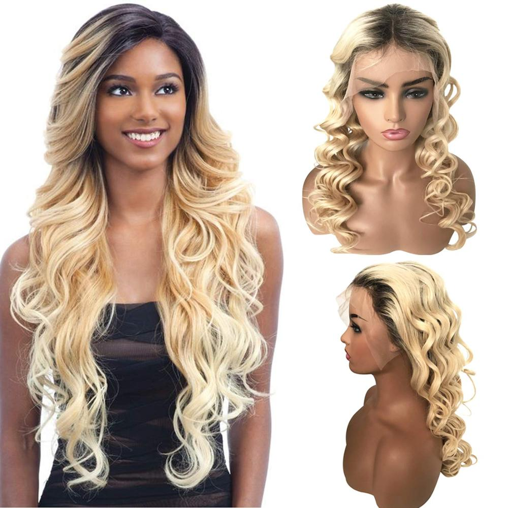 Ombre 1b 613 Blond Full Lace Front Human Hair Wig With Baby Hair Pre Plucked Brazilian Remy Wavy Wig For Black Women image