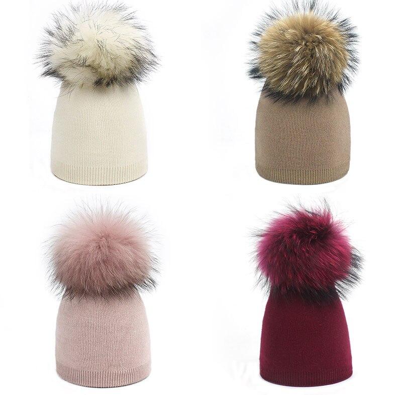 Детская шапка, вязаная цветная шапка с помпоном, Шапка-бини с меховым помпоном, зимняя шапка для мальчиков и девочек, теплая мягкая шапка Skullies Bone для детей