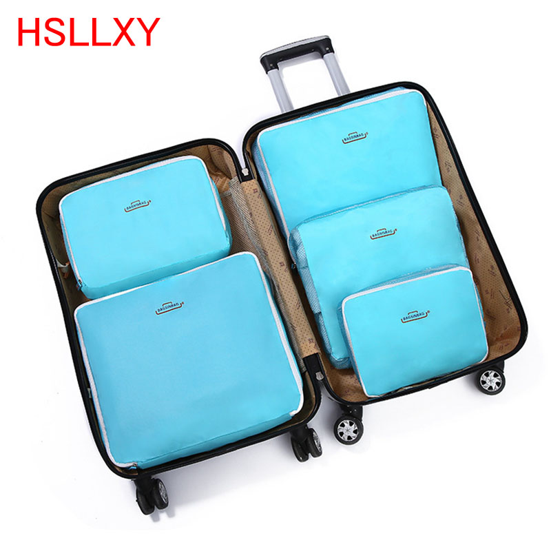 Solid Color 5 Pcs Travel Storage Bag High-quality Polyester Clothing Storage Bag Set Of 5 Portable Storage Bag For Travel