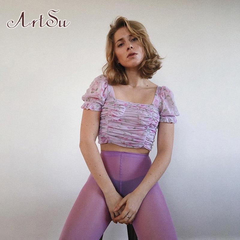 ArtSu Bohemia Mesh Stretch T-shirt Women Cute Sweet Crop Top Casual Streetwear 2020 Ladies Summer Short Sleeve Tees ASTS52006