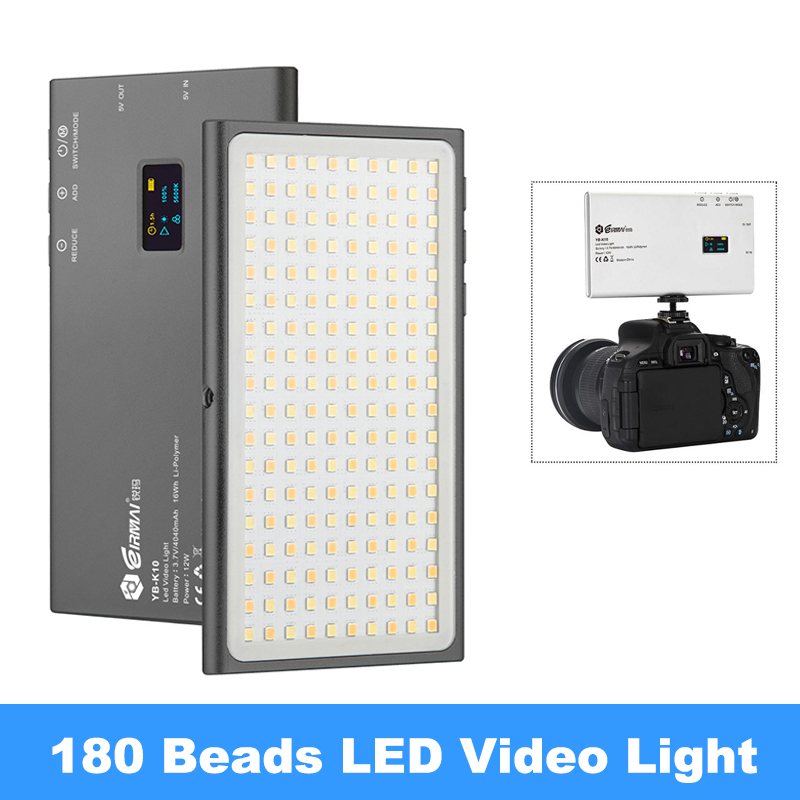 YB-K10 LED Video Ligh 12W Pocket-sized On Camera Light 180 Beads Photography Lamp with Mount for Sony Nikon DSLR
