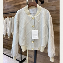 Biker-Jacket 100%Sheepskin-Leather Women Coat Bomber Long-Sleeves H726 Natural