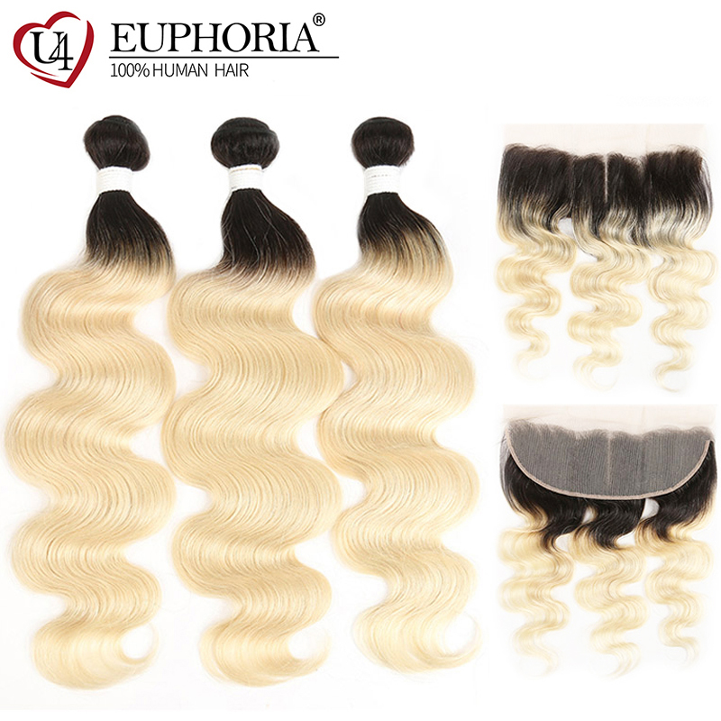 Platinum Blonde <font><b>3</b></font> <font><b>Bundles</b></font> With Frontal 13x4 Brazilian <font><b>Body</b></font> <font><b>Wave</b></font> <font><b>Hair</b></font> Weaves 1B <font><b>613</b></font> <font><b>Bundles</b></font> With Closure Euphoria Remy Human <font><b>Hair</b></font> image