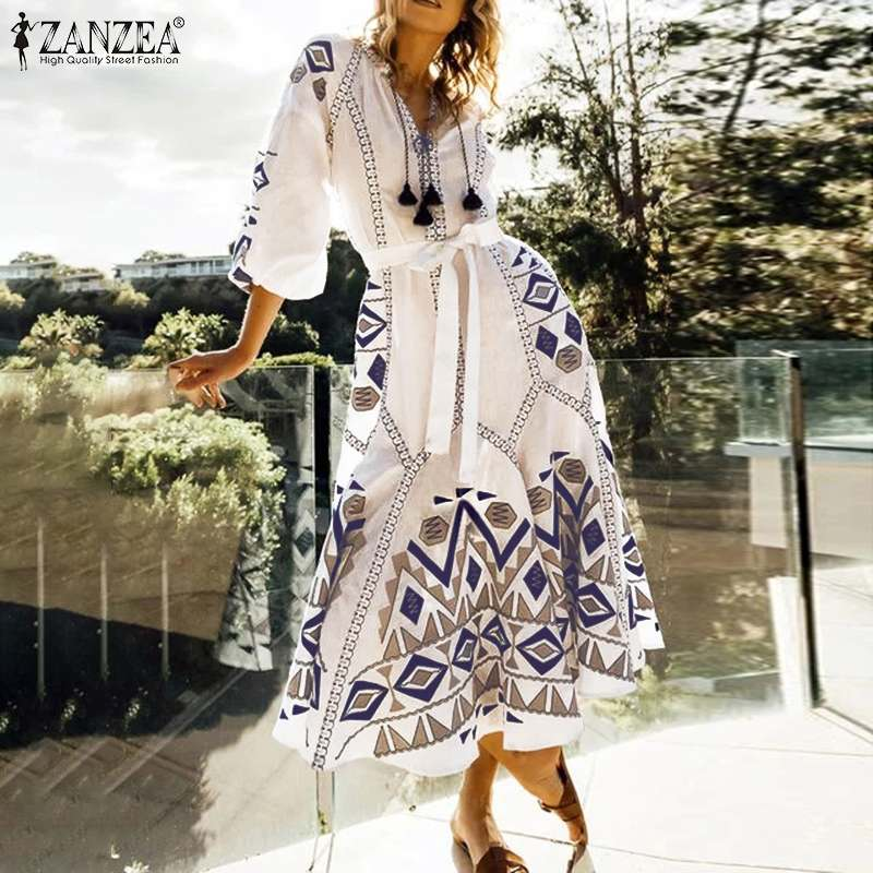 ZANZEA Women Bohemian Long Maxi Dress Ladies Lantern Sleeve Belted Dresses Female Casual Lantern Sleeve Vestidos Party Sundress
