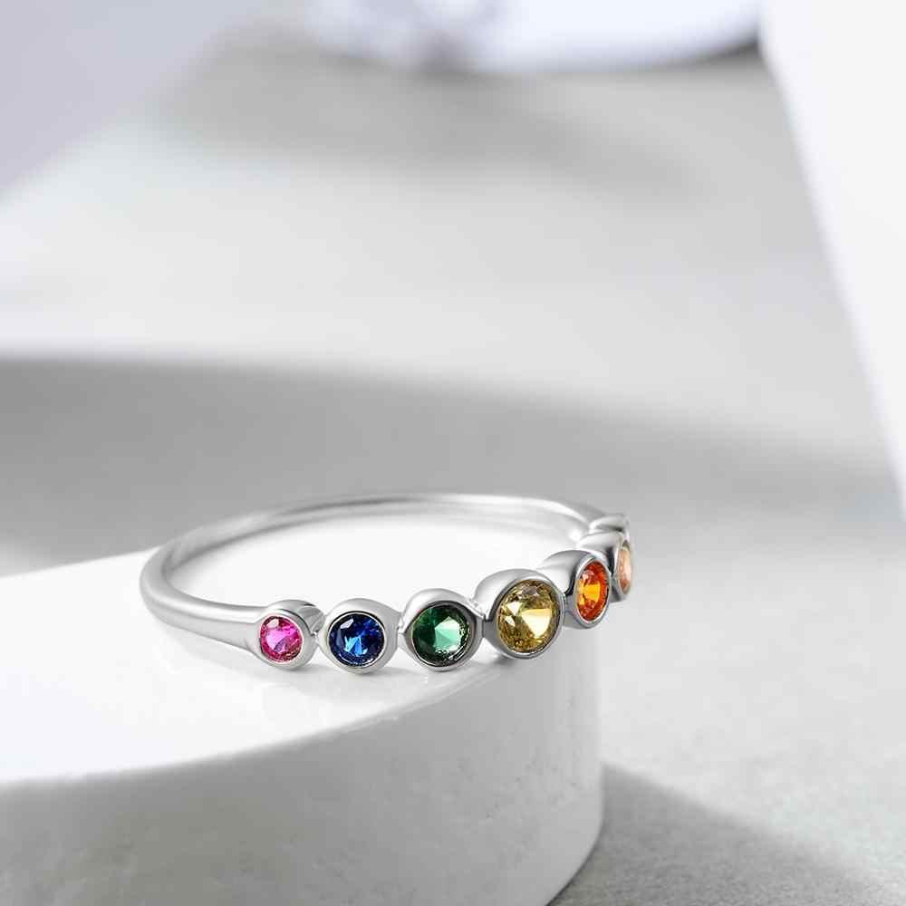 E 뜨거운 판매 정통 925 스털링 실버 무지개 손가락 반지 여성을위한 색상 CZ Stackable Rings 보석 웨딩 쥬얼리 선물
