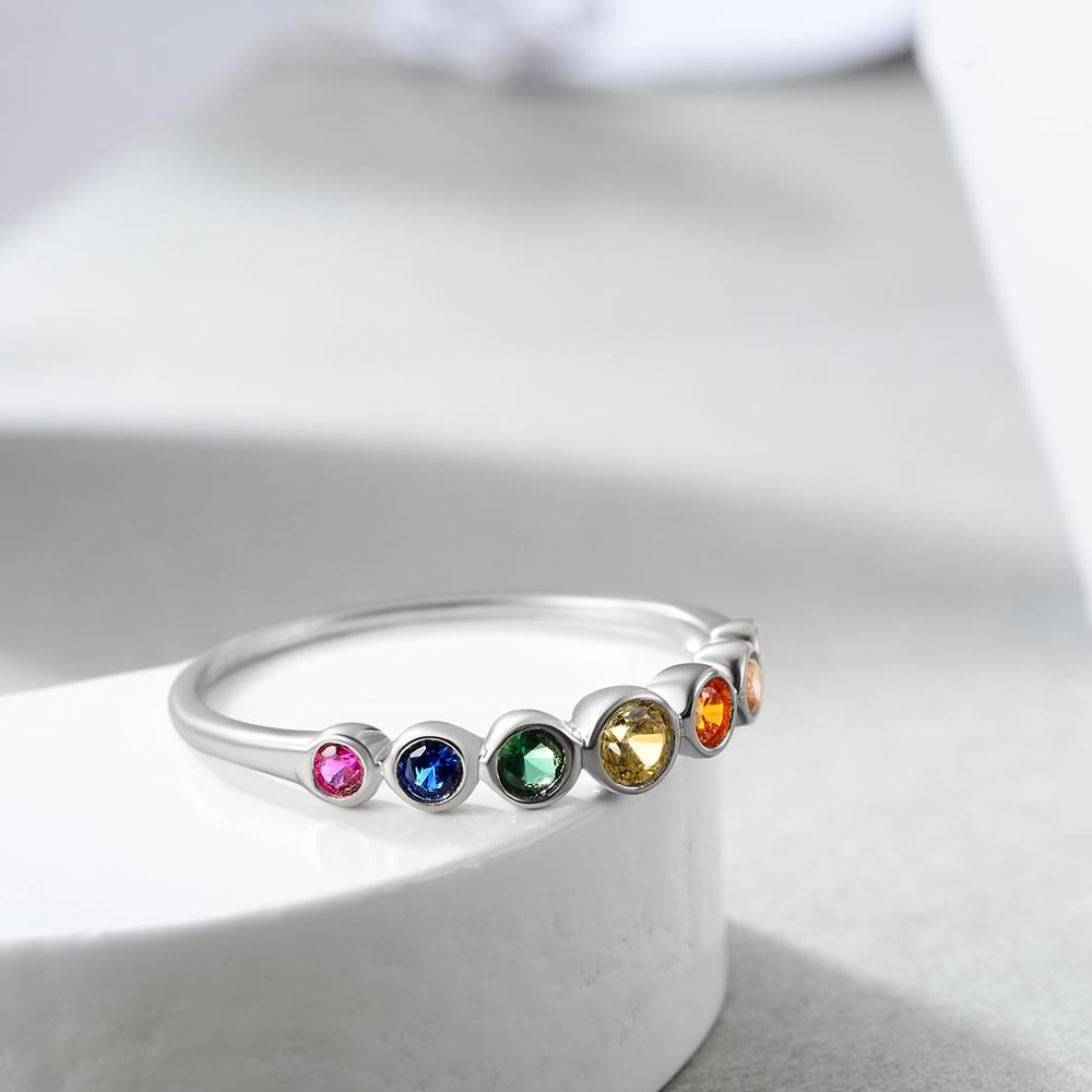 E Jewelry 925 Sterling Silver Rainbow Gemstones Ring for Women Colorful Wedding Engagement Rings for Girls 2