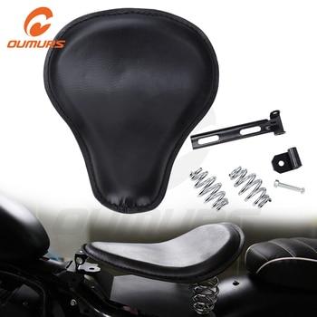 OUMURS Solo Seat Spring SeatPad Leather Black Saddle bracket For Harley Sportster Honda Yamaha Kawasaki Suzuki Bobber Chopper