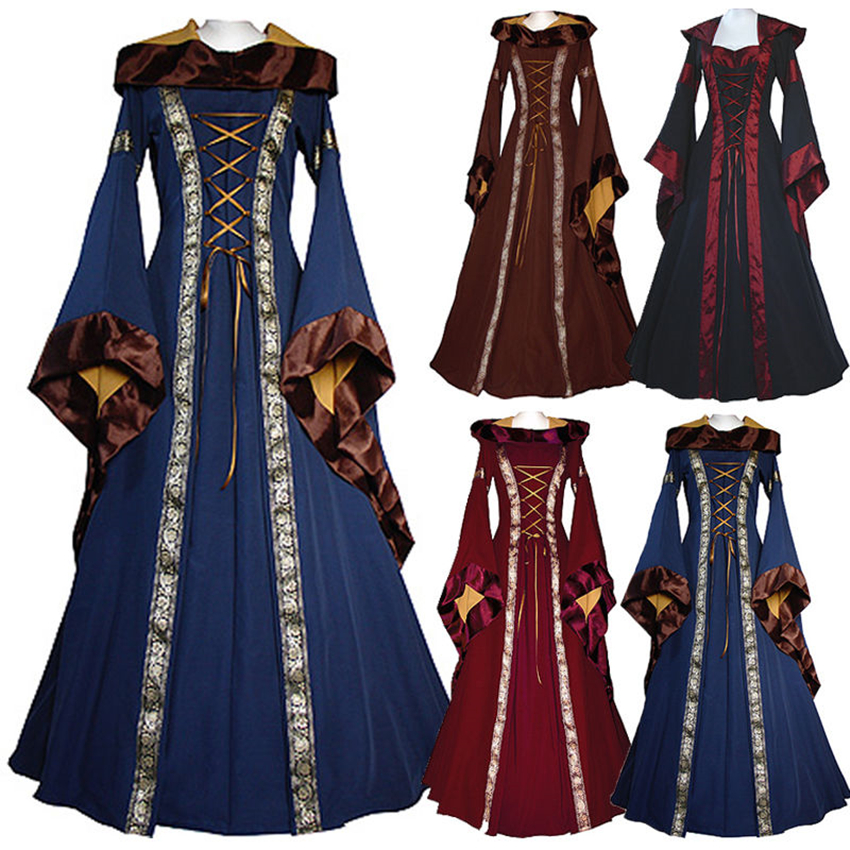19th Century European Costumes Woman Medieval Renaissance Hooded Vestido Women Vintage Victorian Gothic Princess Dresses