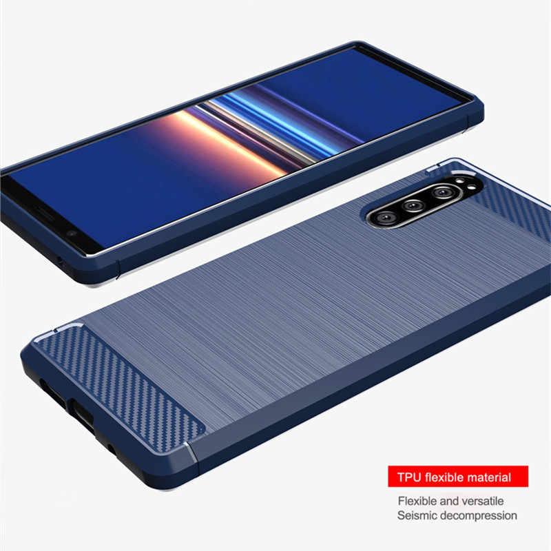 Nueva funda de fibra de carbono para Sony Xperia 5, 20, 10, 8 y 1, funda para Xperia L1, L2, L3, XA1, XA2 Plus, XA3, Ultra, XA4, fundas de silicona blanda