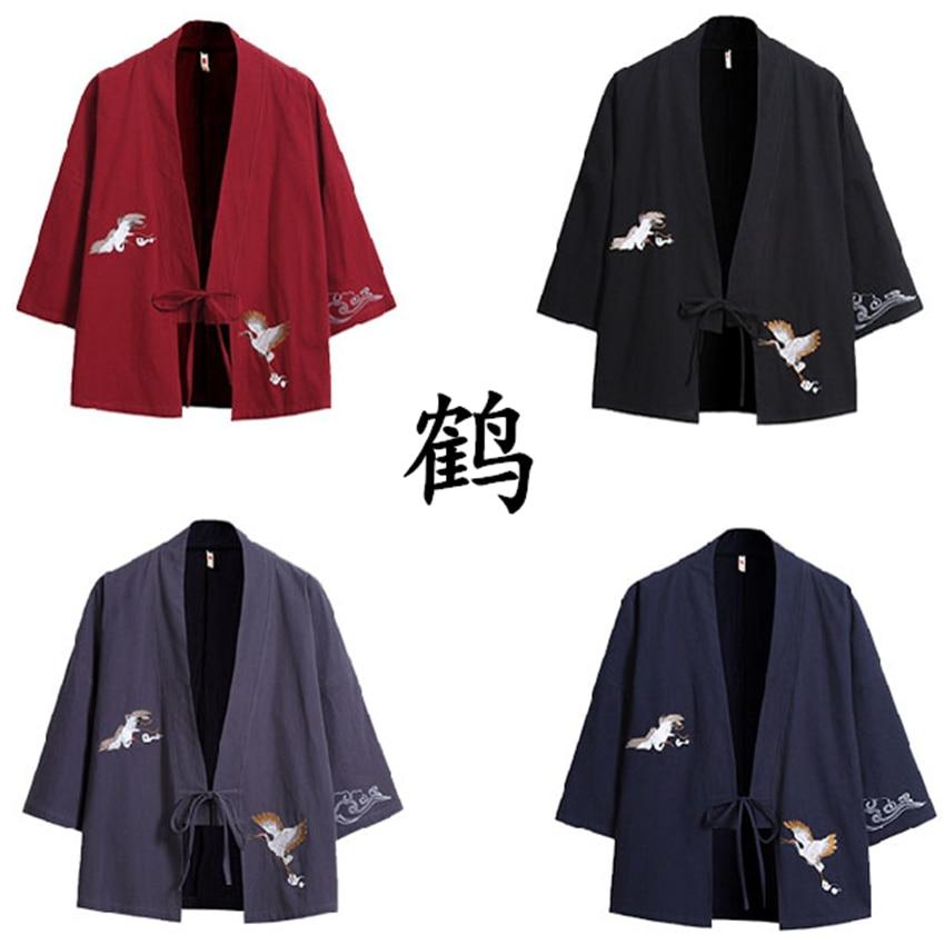Kimono Cardigan Japanese Style Men Samurai Haori Clothing Crane Embroidery Traditional Vintage Yukata Asian Clothes Women