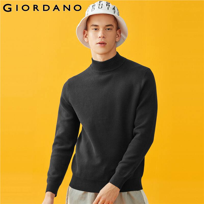 Giordano Men Sweaters Mockneck Long Sleeve Knitted Pullovers Ribbed Cuffs And Hems Soild Blusa De Frio Masculino 01059880