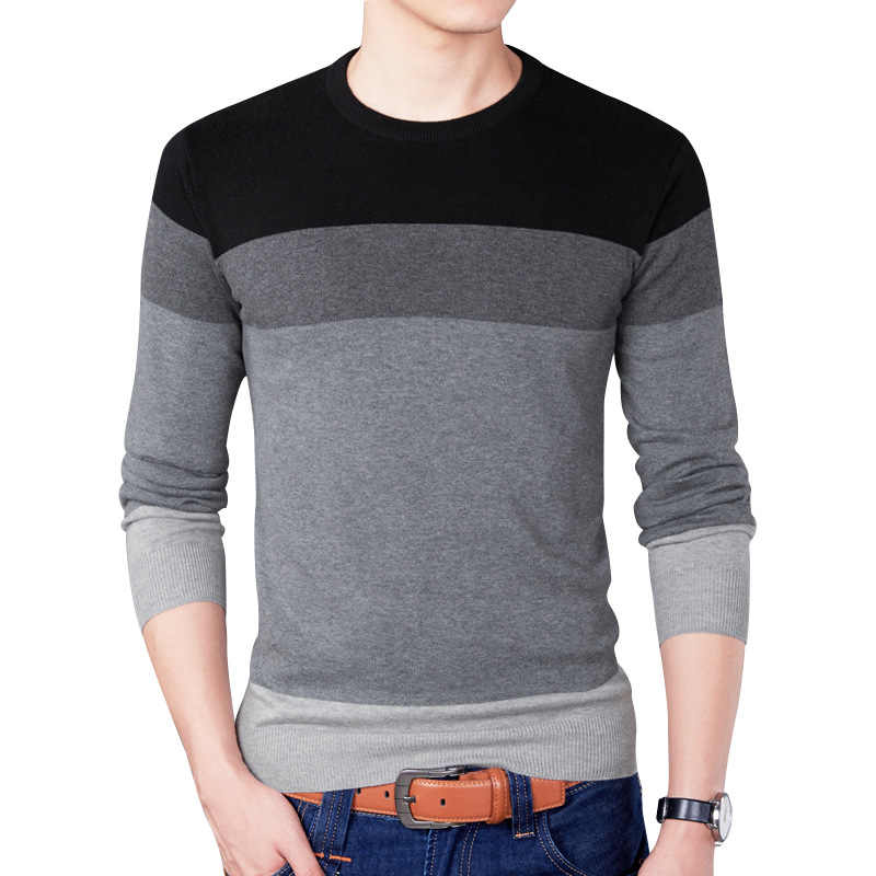 Sweater Men New Arrival Casual Pullover Men Autumn Round Neck Patchwork Quality Knitted Brand Male Sweaters Plus Size M-3XL