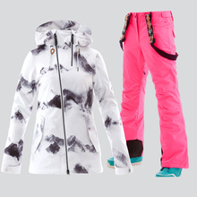 GSOU SNOW Snowboard Suit Women Winter Ski Jacket Pants Waterproof Breathable Wind Resistant Skiing Suits Outdoor Sport Clothing