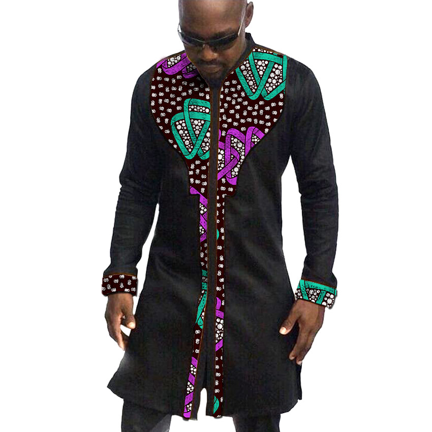 African Clothing Men's Shirt Stand Collar Ankara Black With Print Tops Patchwork Customize Wear Male Long Shirt For Wedding