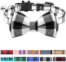 Safety Plaid Grid Cat Collars Cotton Striped Bowknot Necklace Cat Collar with Bell and Bow Tie Puppy Small Dog Party Pets Collar contrast collar and cuff grid dress