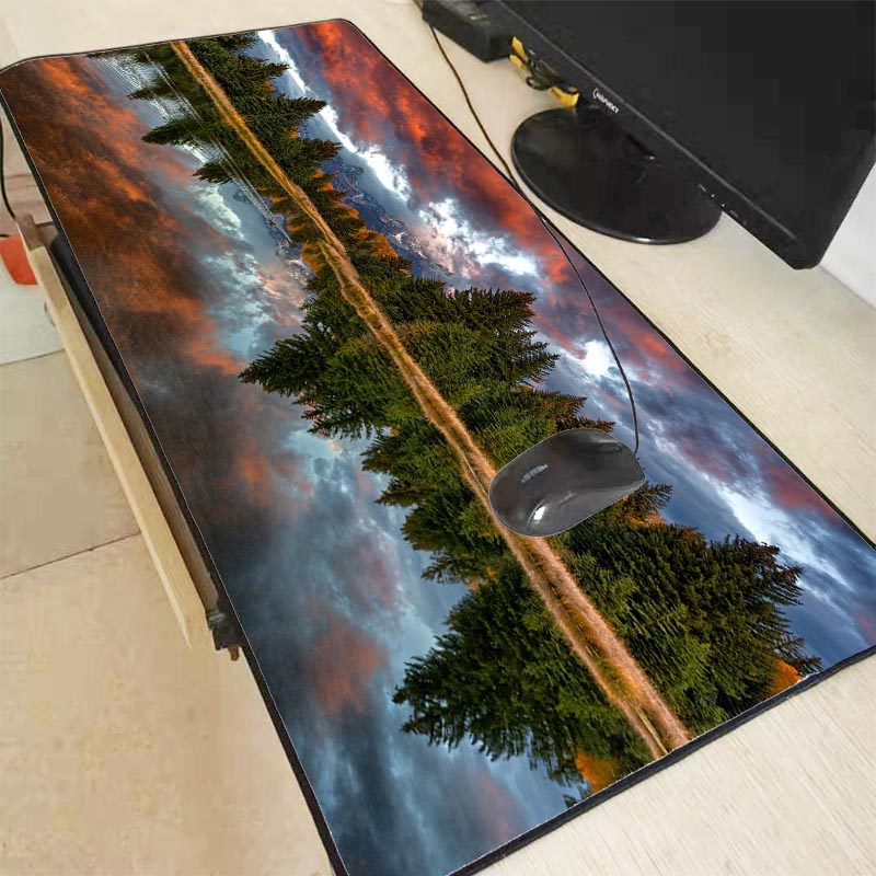 Mairuige  Park River Trees Mountains 600x300 900x400mm Large Gaming Mousepad Thicken Mouse Pad For Game Locking Edge Mouse Pads