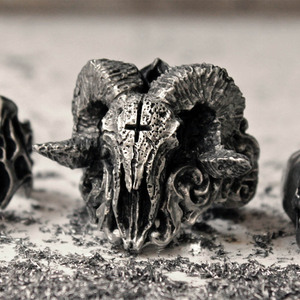 1 PC Unique Punk Gothic Satanic Demon Skull Ring Men Biker Ring Jewelry Gift Finger Trendy Ring Cool Mens Boys Rings