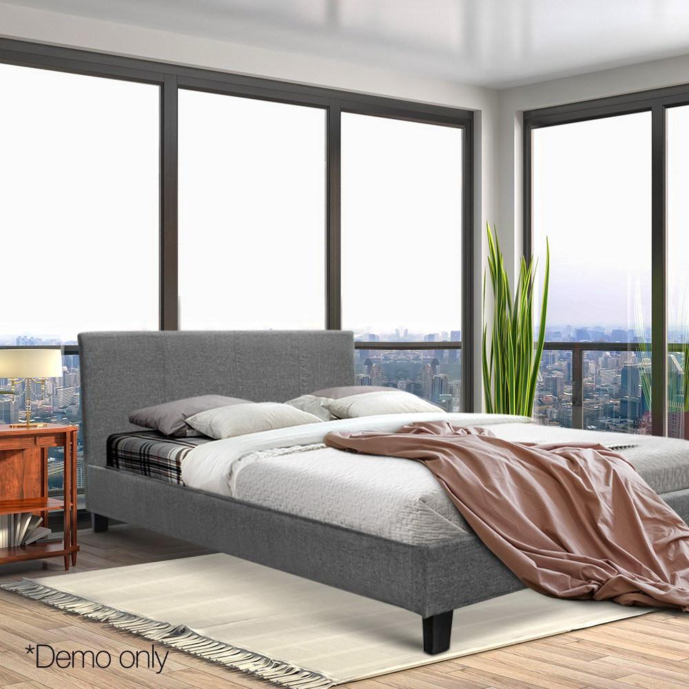 Cadre de lit moderne en tissu Artiss Double taille tête de lit contemporaine gris robuste en acier cadre en bois arqué Base AU