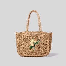 Bohemia Embroidery Flower Tote Bags For Women Casual Hollow  Woven Women Handbag Summer Beach Straw Shoulder Bag Women