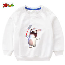 2019 Boys Girls Baby Print Hoodies Sweatshirts Crazy Rabbit Cartoon Sweatshirts Children O-Neck Long Sleeves Sweatshirts 2T-8T s kids bing bunny cartoon print hoodies coats for boys girls rabbit long sleeves hoody sweatshirts for children costumes