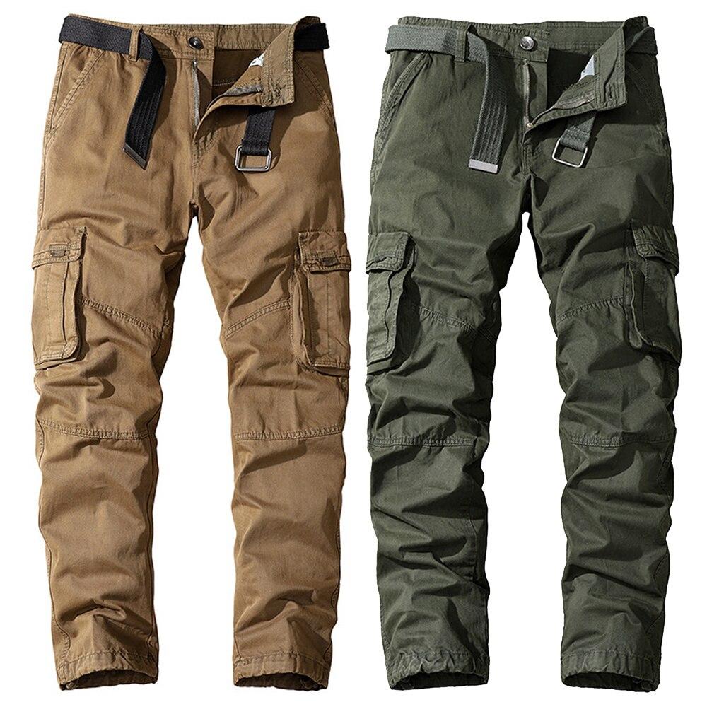 Брюки-карго мужские хлопковые, уличные тактические штаны, много карманов, стиль милитари, рабочая одежда