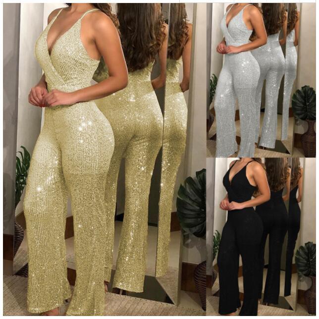 Elegant Sexy Jumpsuits Women Sleeveless Sequin Glitter Shiny Trousers Wide Leg Pants Rompers Backless Belt Bodysuit Playsuit
