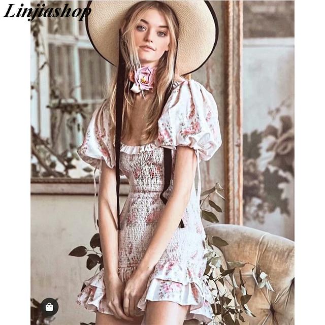 Boho loveshackfancy autumn dress beige short sleeve ruffles slim holiday ins bloggers special interest mini dress women 1