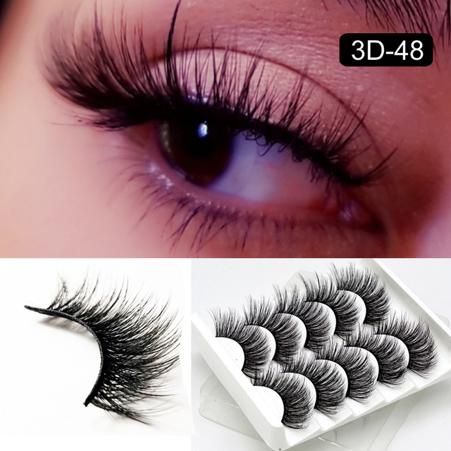 5 Packs False Eyelashes Extension Faux Cils 3D Mink Lashes Long Thick 15mm Natural Eye Lash Makeup Tools Wispy Lashes Wholesale 5