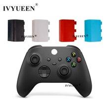 Ivyueen 2 pçs bateria de substituição de plástico capa traseira tampa da porta escudo para xbox série s x controlador placa caso azul vermelho branco