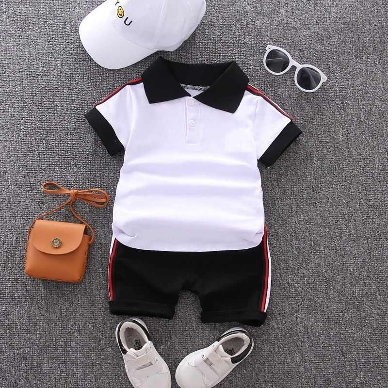 ชุดเด็กทารก 2020 ฤดูร้อนสบายๆฝ้ายเด็ก Turn-Down Top + กางเกงขาสั้นสีดำเด็กวัยหัดเดินแขนสั้น GOLF ชุดกีฬาเสื้อผ้า