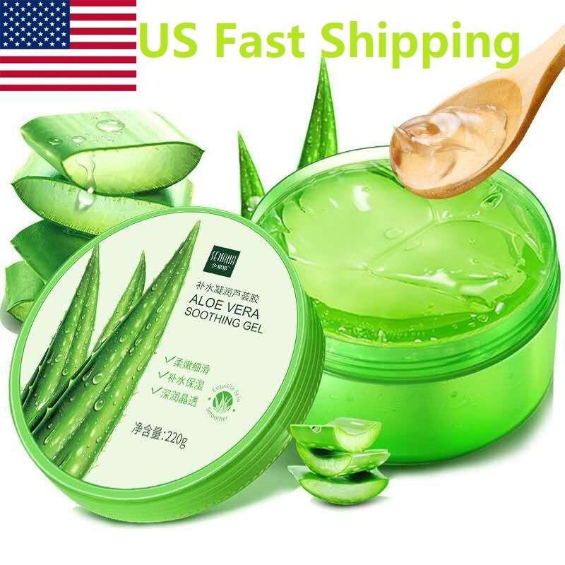 Abd hızlı kargo Aloe Vera jel doğal yüz kremleri nemlendirici akne bakım kremi onarıcı krem beyazlatma cilt bakımı 220ML