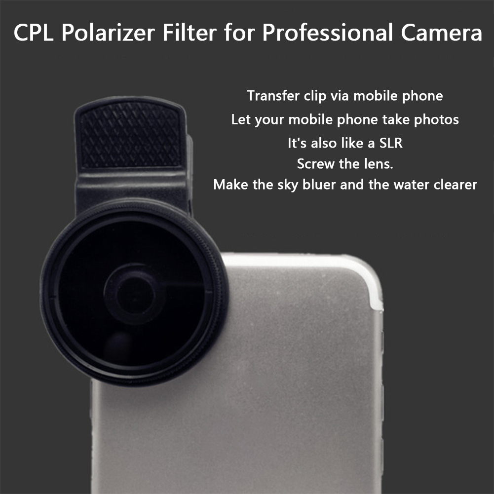 37MM Professional <font><b>Phone</b></font> Portable Accessories Durable Polarizer <font><b>Camera</b></font> Wide Angle Lens CPL <font><b>Filter</b></font> Universal Circular With Clip image