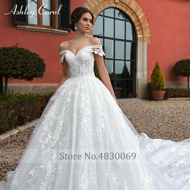 Ashley Carol Ball Gown Wedding Dress 2021 Beaded Sweetheart Cap Sleeve Princess Appliques Lace Up Bride Robe De Mariage Royale 6