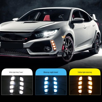 2pcs Led Daytime Running Lights Yellow Turn Signal Lamp ABS Waterproof for Honda Civic Type R 2018 2019