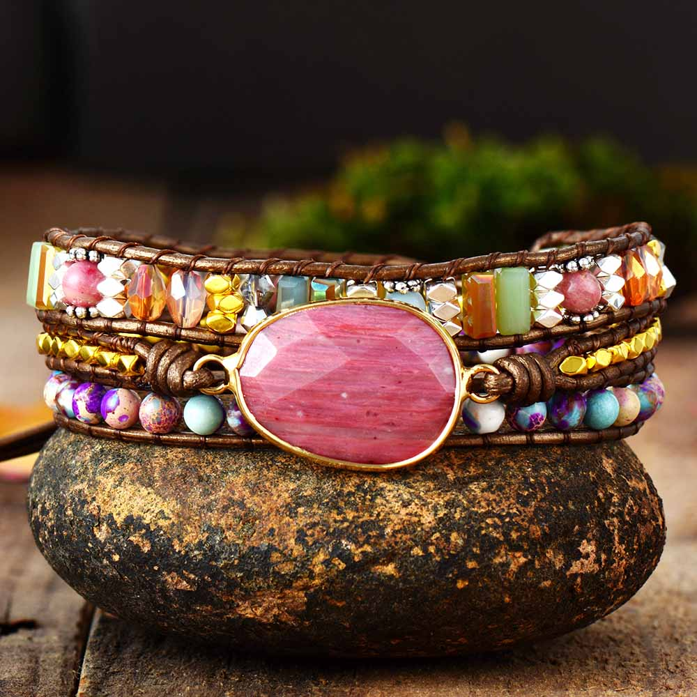 Leather Wrap Bracelet W/ Stones Multi Color Natural Beads Crystal Weaving Statement Art Bracelet Gifts(China)